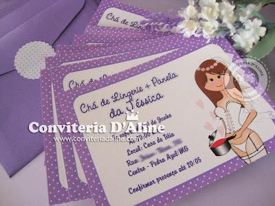 convite cha lingerie lilas