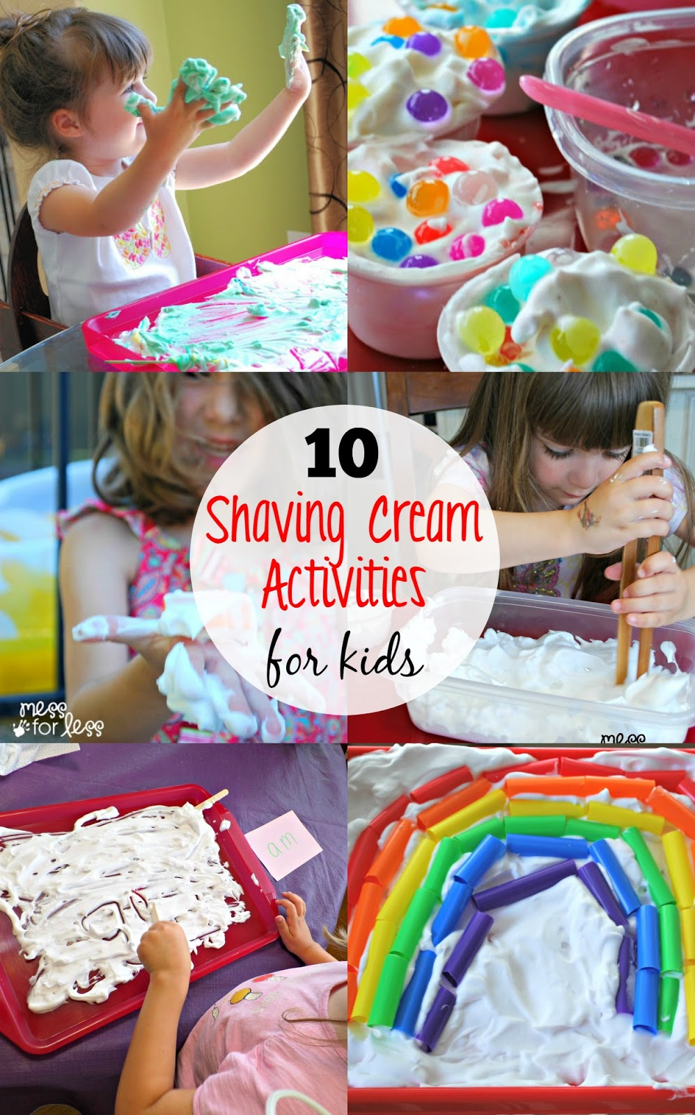 10 Shaving Cream Activities for Kids - Look how many ways you can use shaving cream for fun and learning!