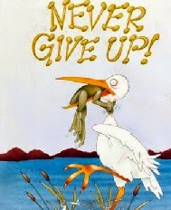 Crane and frog, small image, never give up