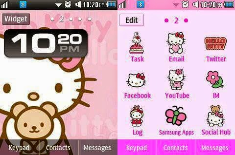 Hello Kitty Wallpaper Icons Pink Top Bottom Borders Extra Tags Corby 2 Theme Samsung GTS3850