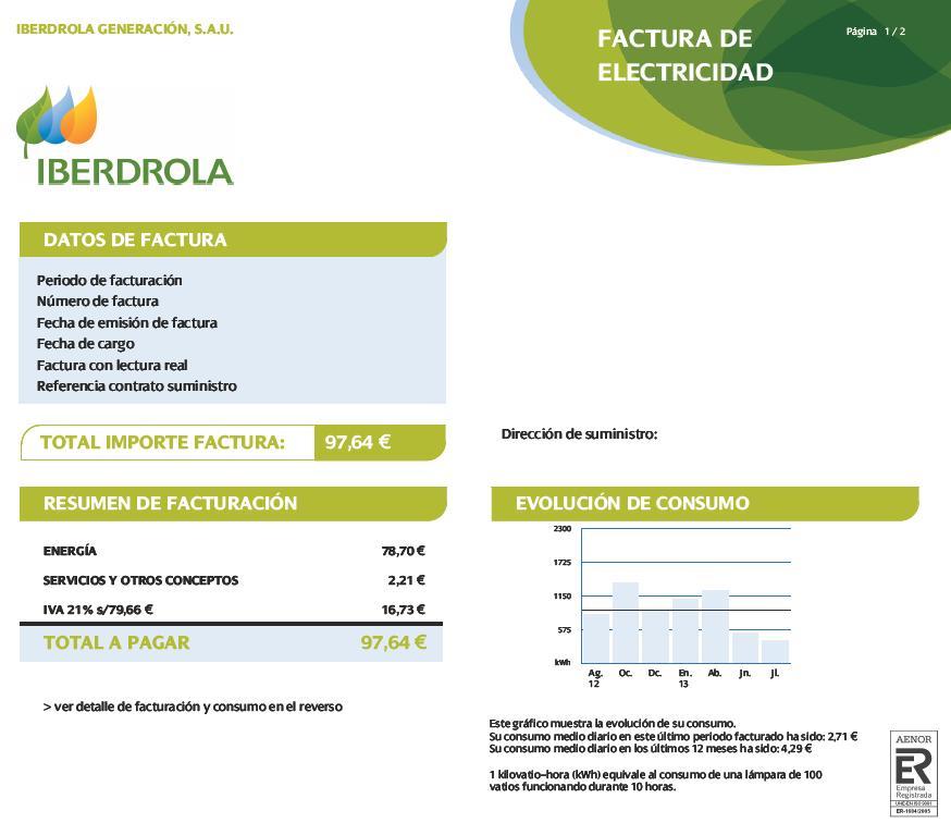 Dar alta luz iberdrola excellent good fabulous mercado for Cuanto vale el alta de la luz