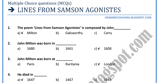 essay on samson agonistes Prompt: in light of feisal mohamed's article on samson agonistes and religious violence, compare milton's samson agonistes to the account of samson's end in judges 16: 23 – 30 does milton's treatment of the samson story condone religious terrorism.