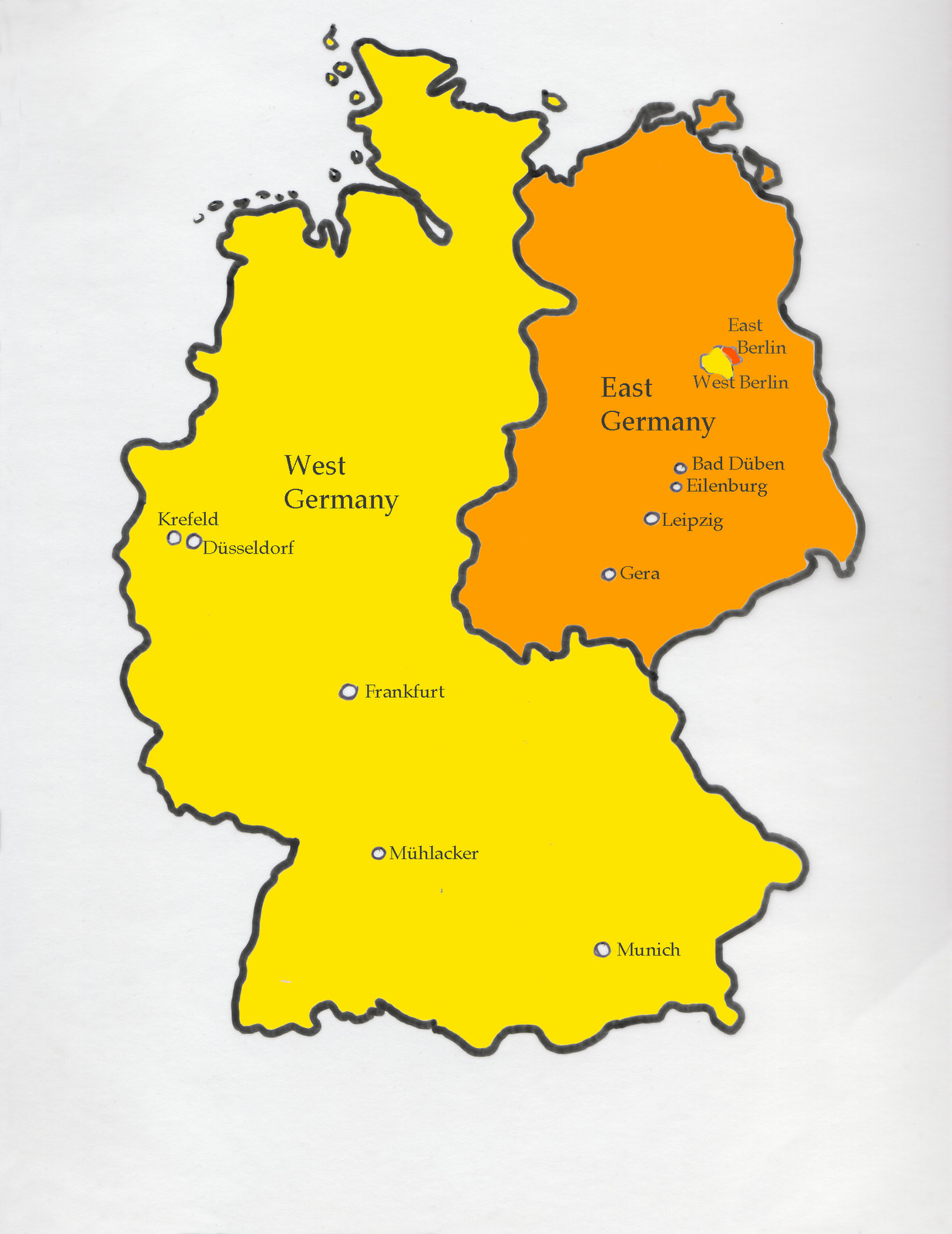 map of divided germany