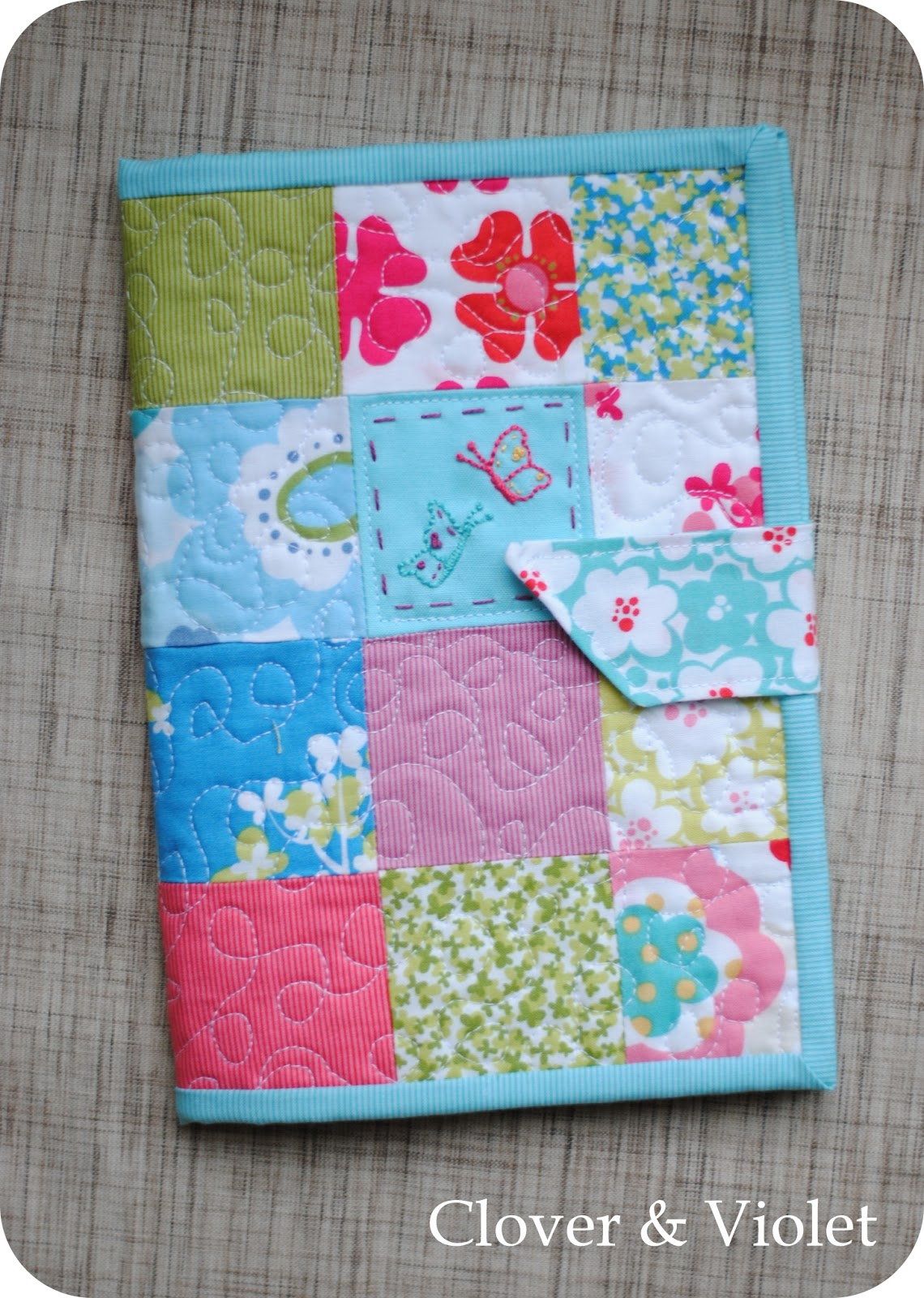 How To Make A Quilted Book Cover ~ Clover violet — kindle keyborad book style cover