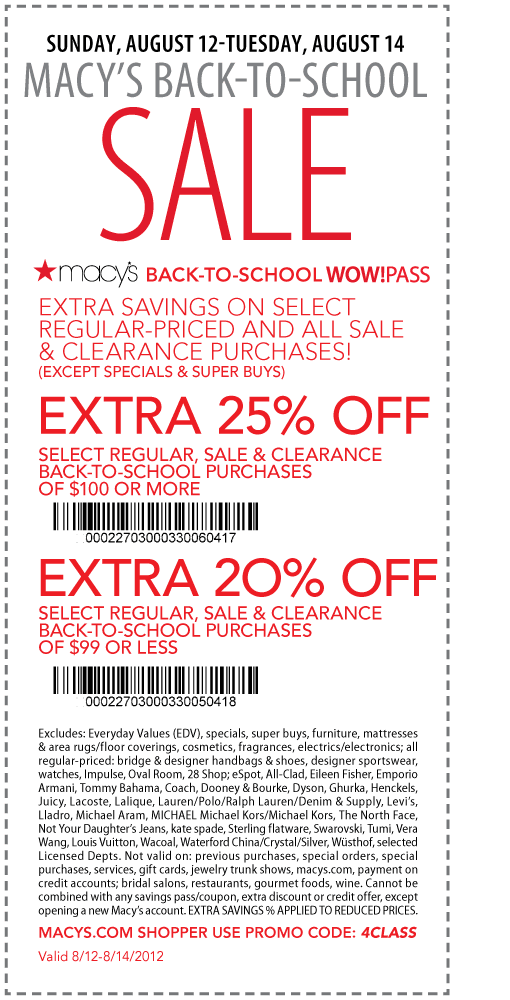 Macys coupon code in store