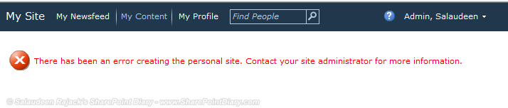 There has been an error creating the personal site. Contact your site administrator for more information.