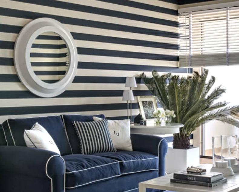 navy and white coastal room