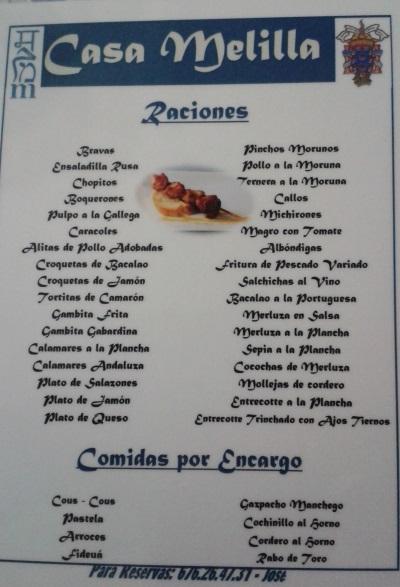 Carta de raciones y comidas