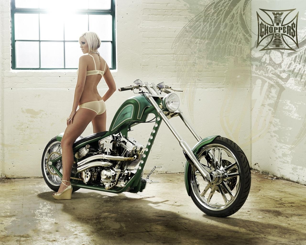 girls and chopper Custom motorcycles