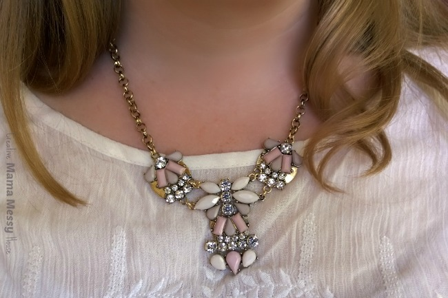 Pastel colors and crystals look romantic for summer. Leilani Statement necklace, Bay to Baubles. April Stitch Fix review