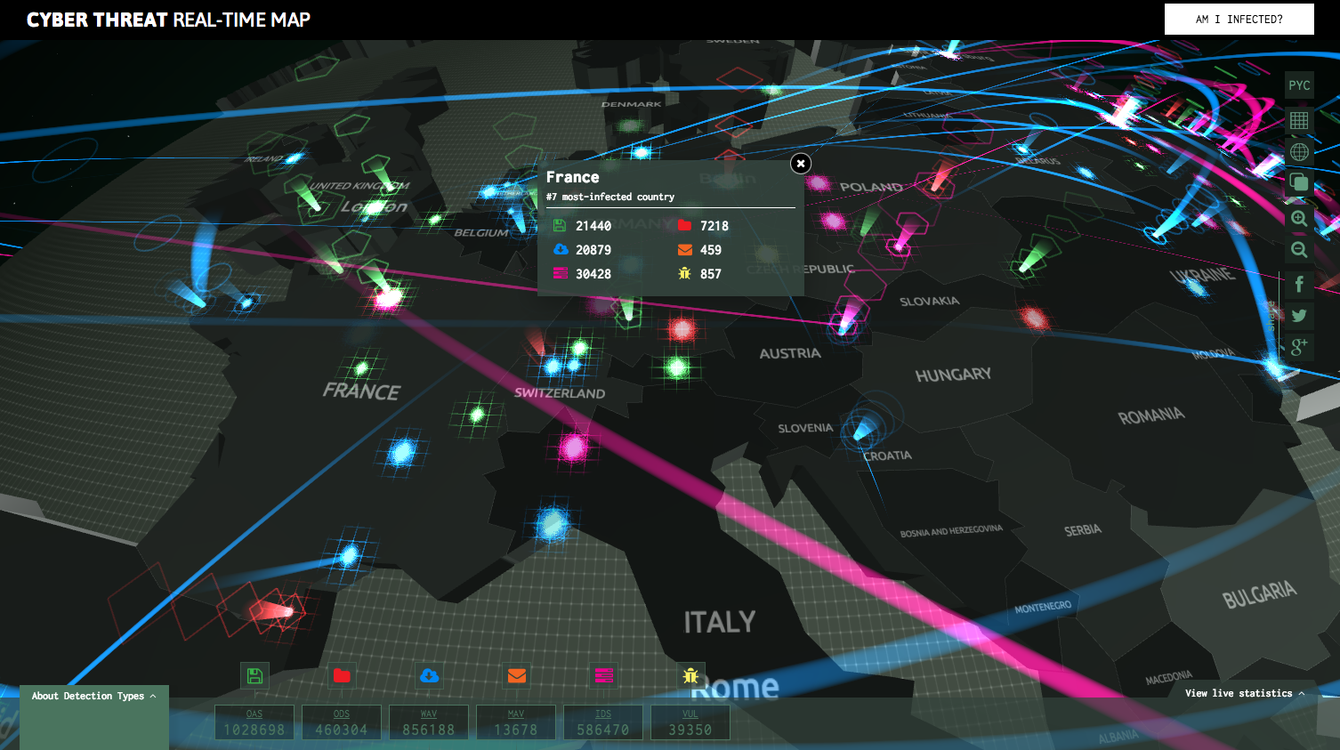 Carte des Cyber-attaques (Kaspersky Lab)