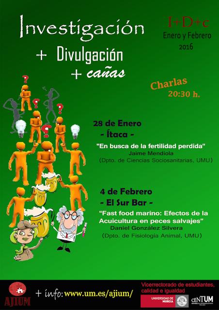 """Nuevas charlas divulgativas """"Investigación + Divulgación + cañas"""" para enero y febrero."""
