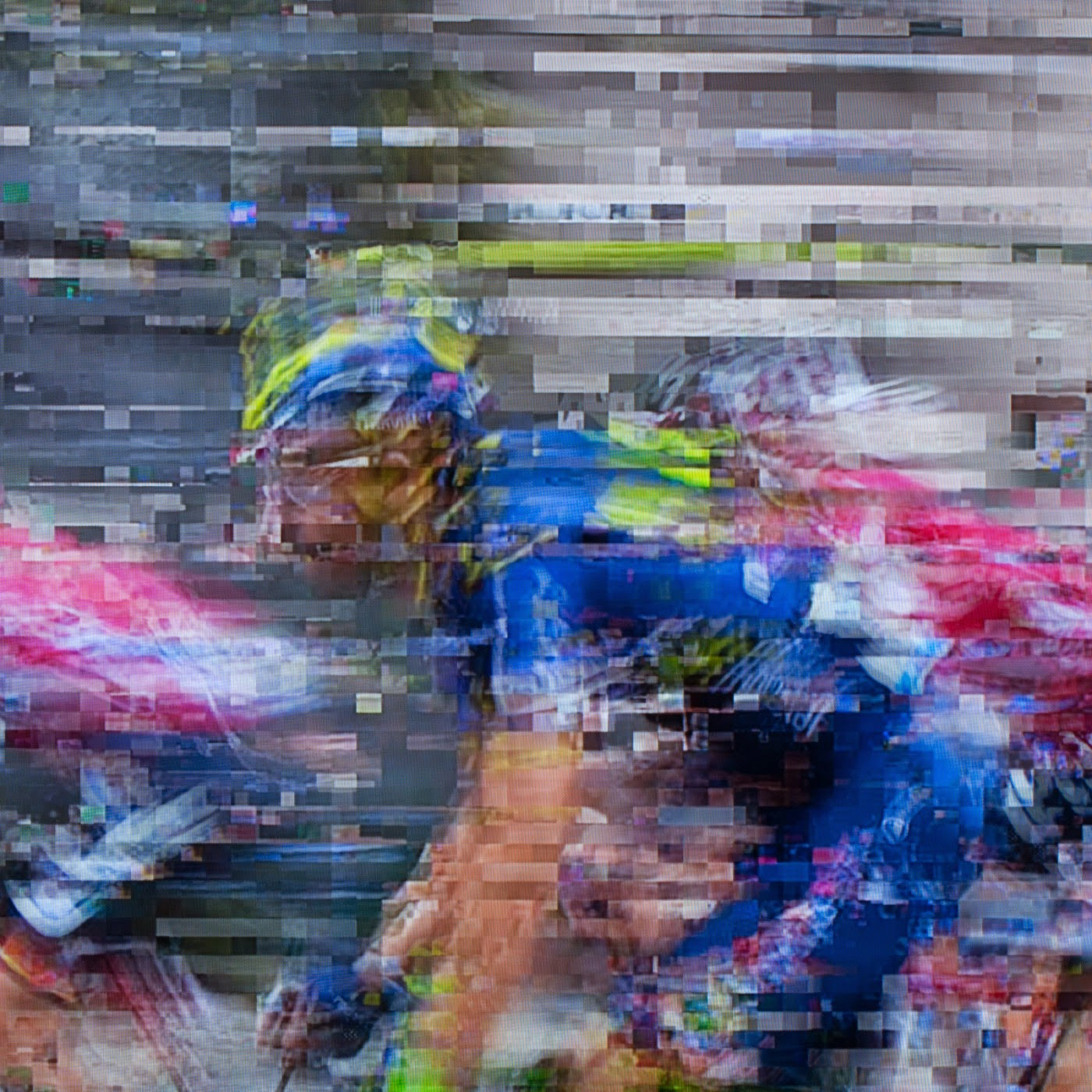 glitch, tim macauley, you won't see this at MoMA, le tour de france, 2014, abstract, abstraction, tv coverage, signal loss, noise to signal ratio, photographic art, graphic, digital, noise, signal, movistar