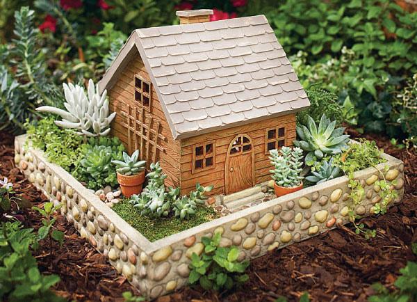 Abc das suculentas jardim em miniatura - Casas de troncos redondos ...