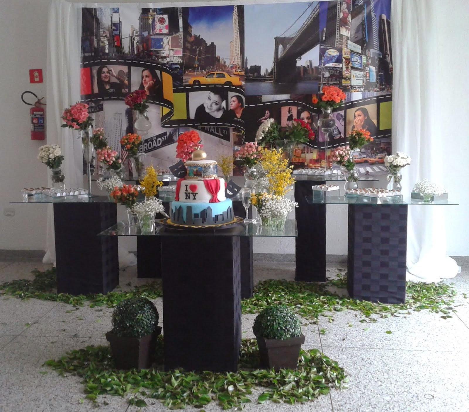 mesa de bolo-tema New York