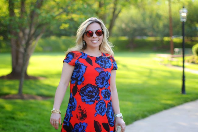 asos orange and blue bold print dress