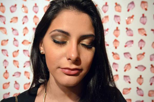 maquiagem noite - sombra verde musgo, cobre e dourado