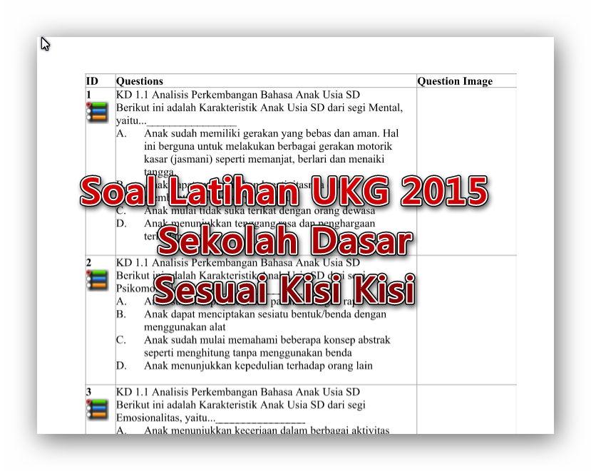 Soal Latihan Ukg 2015 Sekolah Dasar Sesuai Kisi Kisi Berkas Keguruan