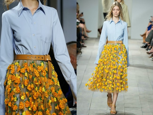 Michael Kors 2015 SS Yellow Marigold Floral Embroidered Tulle Skirt