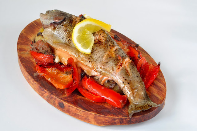 Baked Rainbow Trout with Roasted Red Peppers