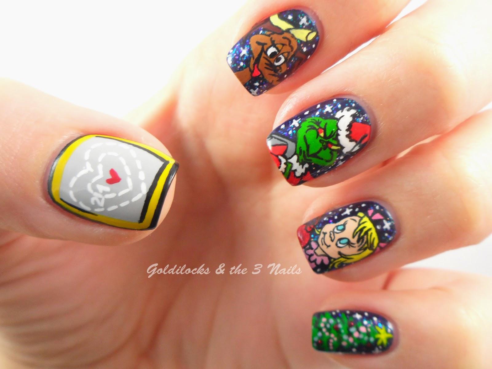 Goldilocks & the Three Nails: How the Grinch Stole Christmas Nail Art