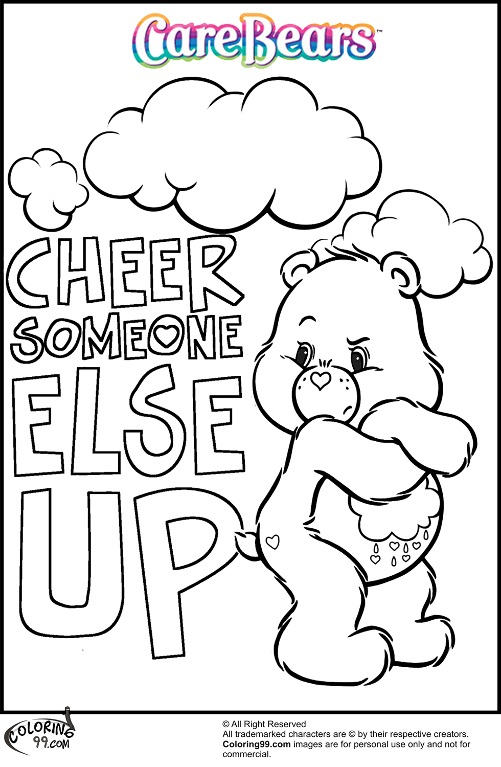 Care Bear Coloring Pages Team colors