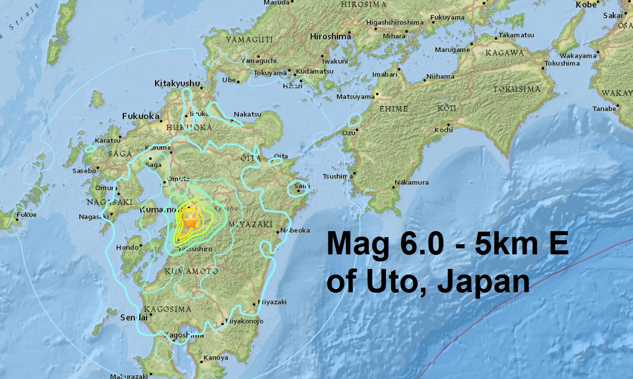 Three major quakes this afternoon: M6.0 - Vanuatu, M6.2 earthquake north of Kumamoto and a M6.0 ...