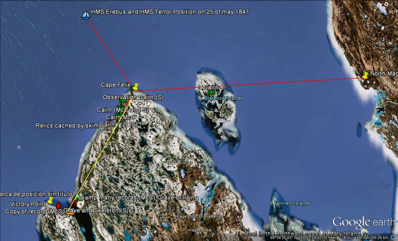 Mad World Map%0A Position of the ships  North magnetic pole in      and the Victory Point by  Andr  s Paredes in Google Earth