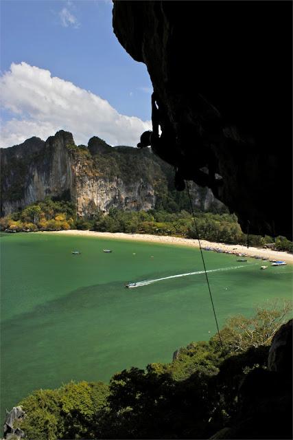 rock climbing in railay beach thailand