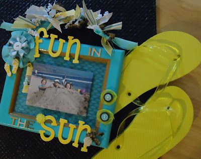 altered art, photo frame, ribbon, beach, summer projects