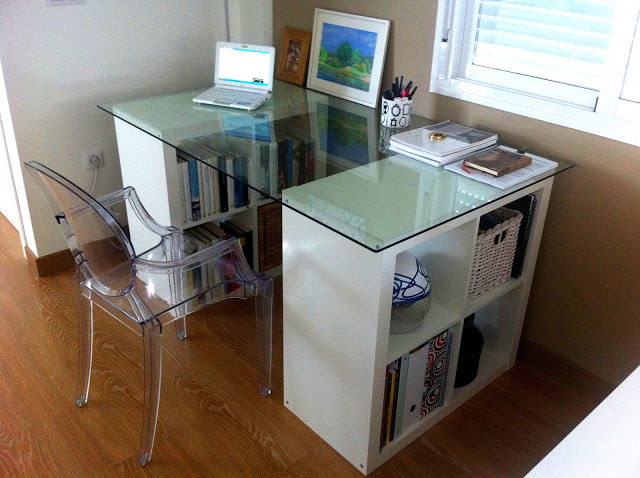 I d e a c mo decorar o utilizar una expedit for Mesa cristal ikea escritorio