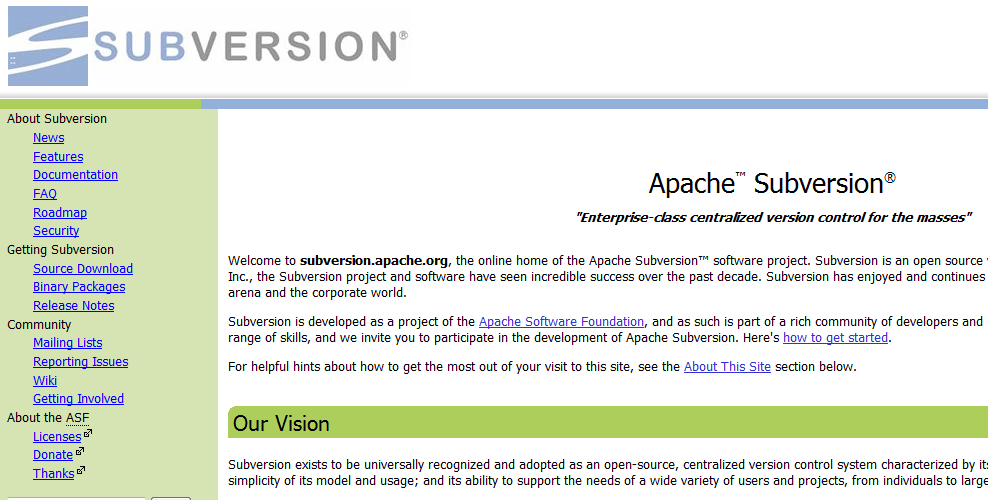 SVN website screenshot