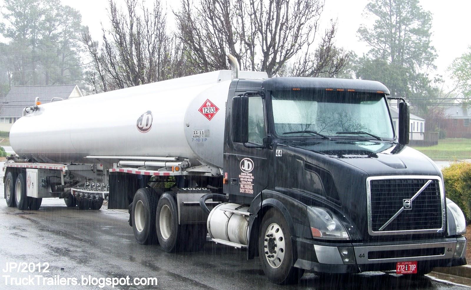Justin davis enterprises madison florida volvo day cab tractor truck gasoline fuel tanker trailer jd justin davis gas tank truck madison fl