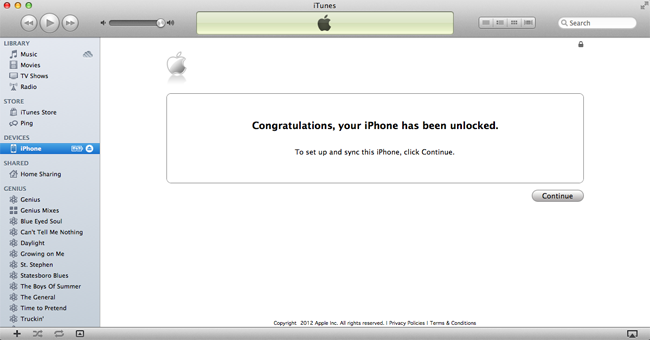 Unlock iPhone via iTunes Official