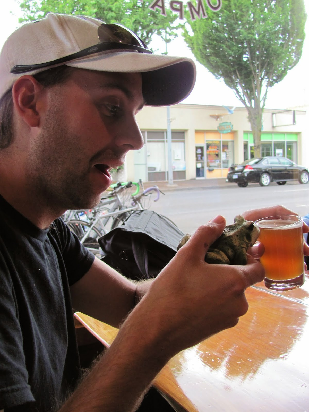 Frog enjoys a cold beverage at Plank Town Brewery in Springfield, Oregon