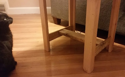 Cat with rustic wood end table
