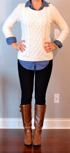 women's chambray shirt with a sweater