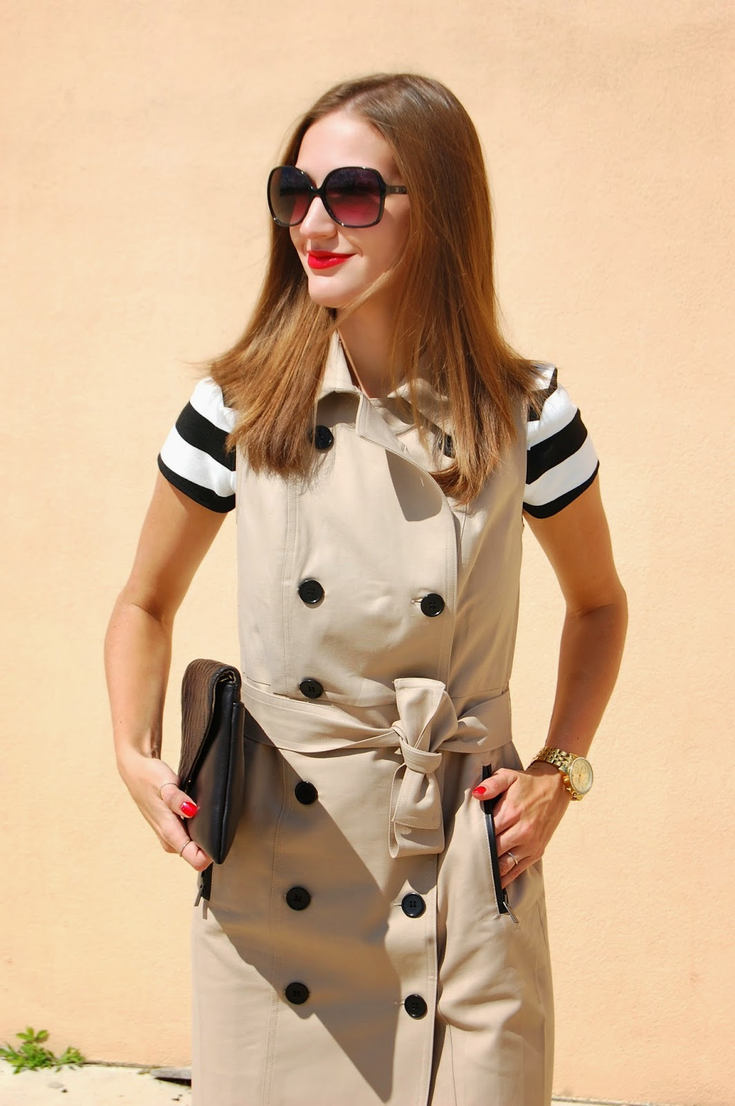 Wearing Ann Taylor Sleeveless Trench Coat, Striped Top
