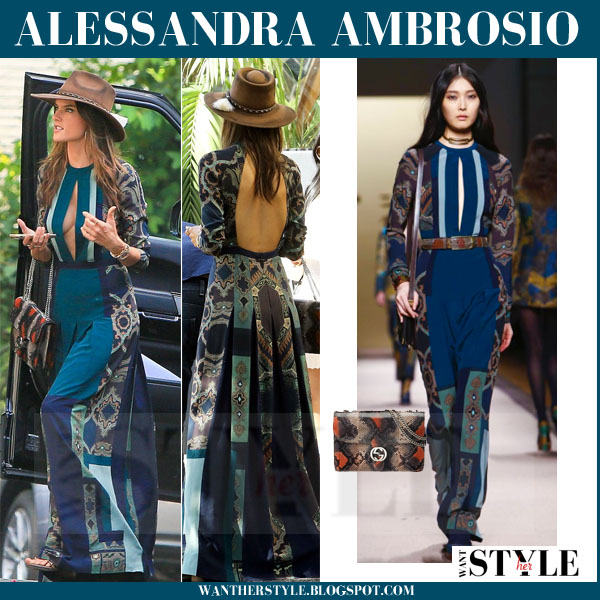 Alessandra Ambrosio in blue paisley printed boho maxi dress from Etro what she wore models off duty