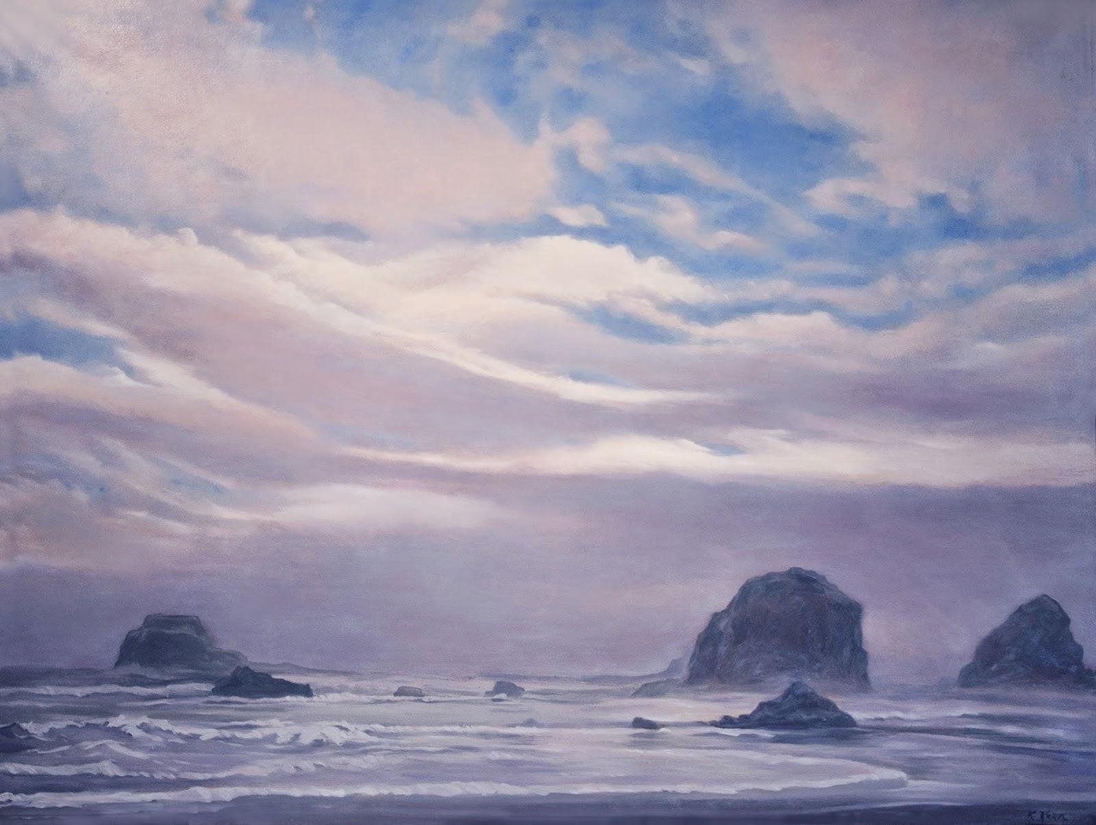 Fog Lifting Katherine Kean oil on linen 30 x 40 inches, healing art, tranquil art