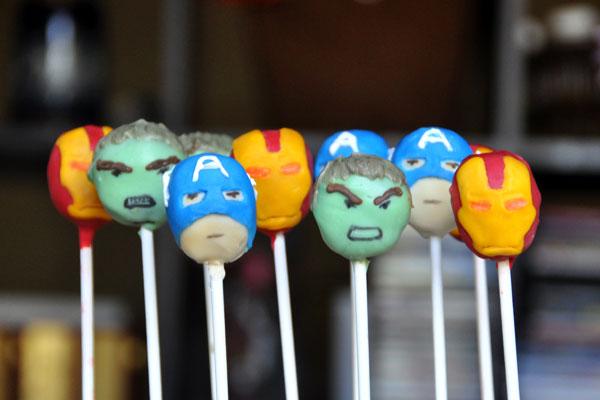 avengers cake pops hulk captain america ironman