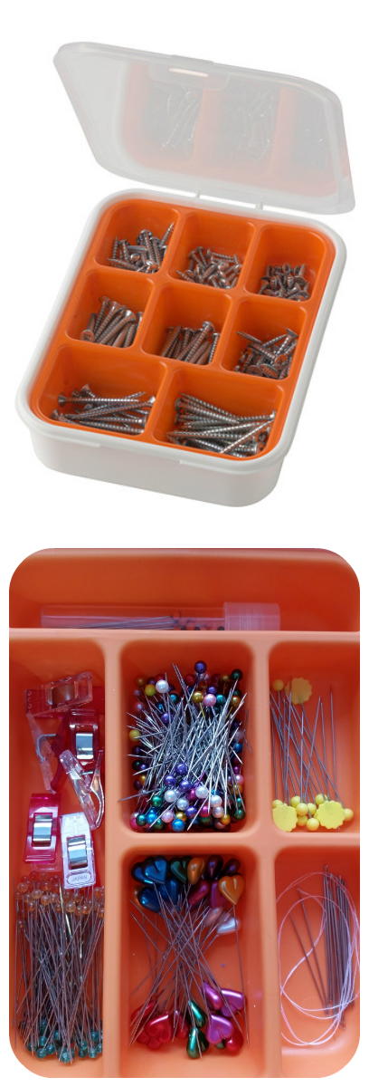 IKEA hack: FIXA screw container for pin storage!  |  Sew at Home Mummy  | Sewing Room, Craft Room Ideas