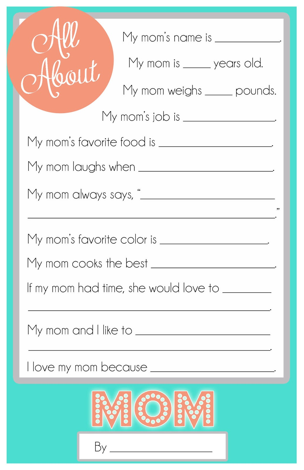 Mothers Day Questionnaire {A FREE Printable for the Kids