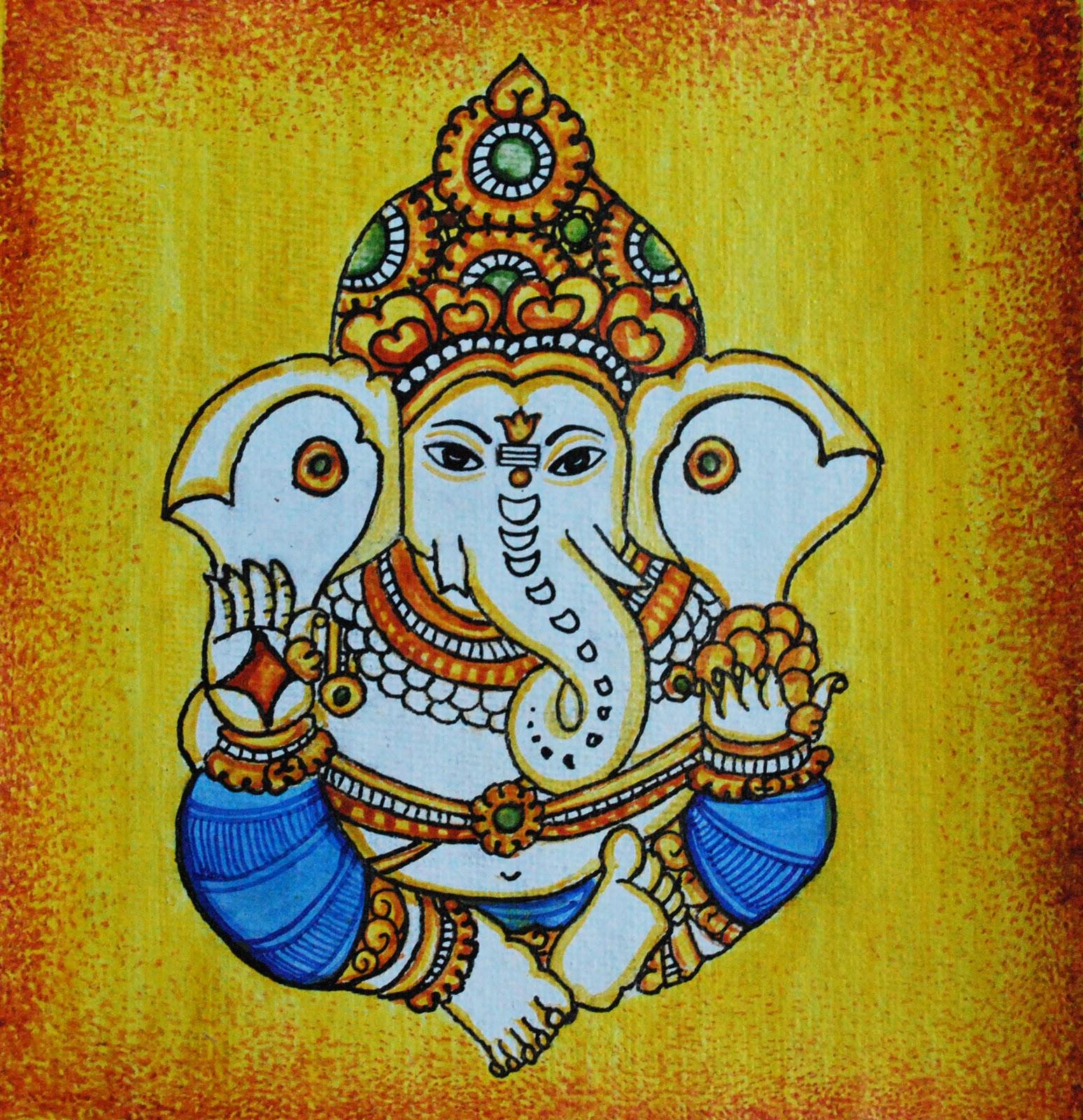 Krishna mural paintings sketches the for Asha ramachandran mural painting