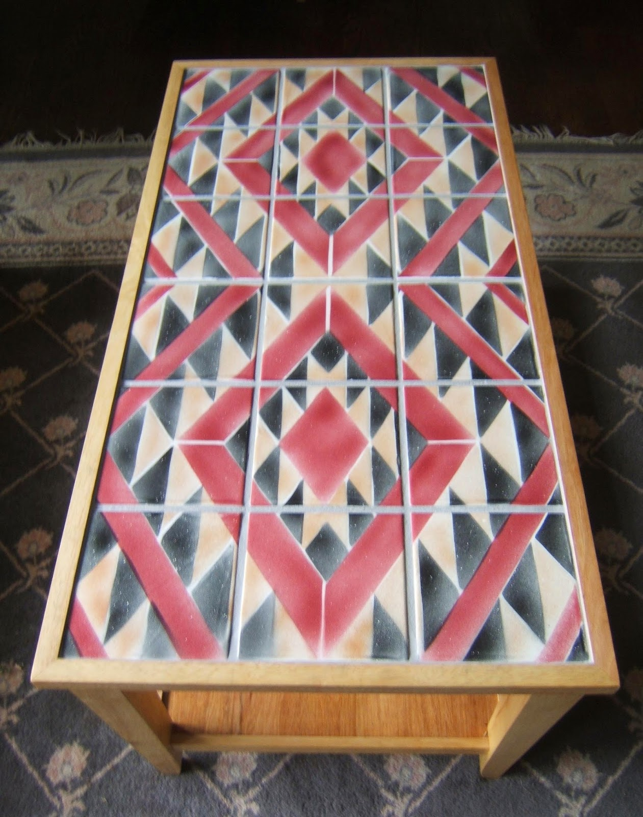Navajo Rug Pattern Ceramic Tile Coffee Table