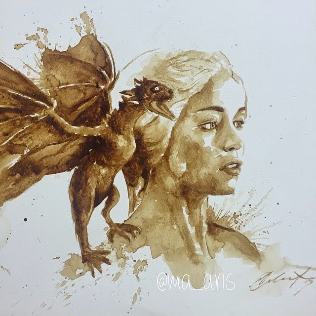 04-Daenerys-Targaryen-GoT-Maria-A-Aristidou-Pop-Culture-Painted-with-Coffee-www-designstack-co