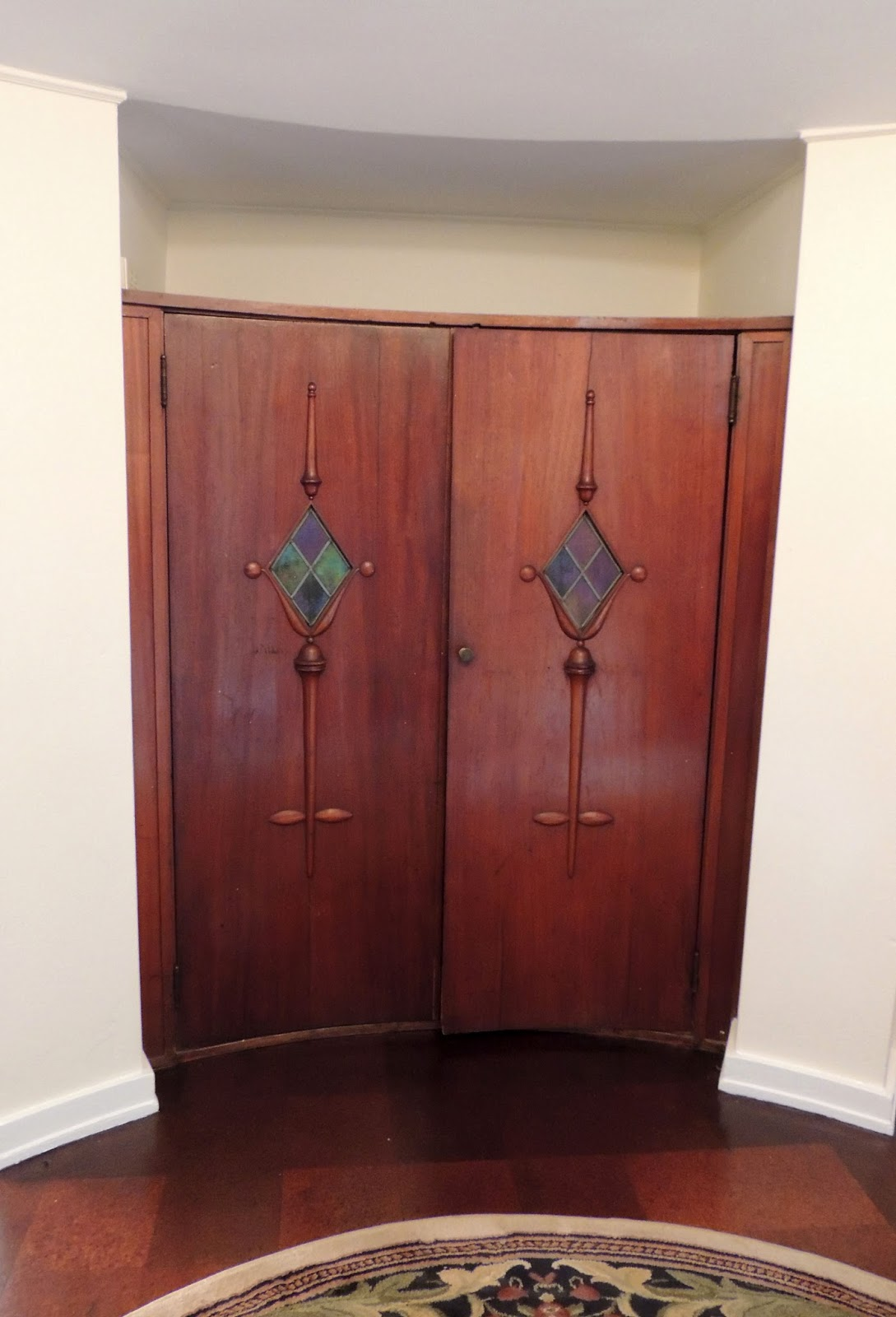 This Photo Shows A Built In Coat Closet The Amazing Round Foyer Its Doors Too Are Curved And Hold Stained Glass