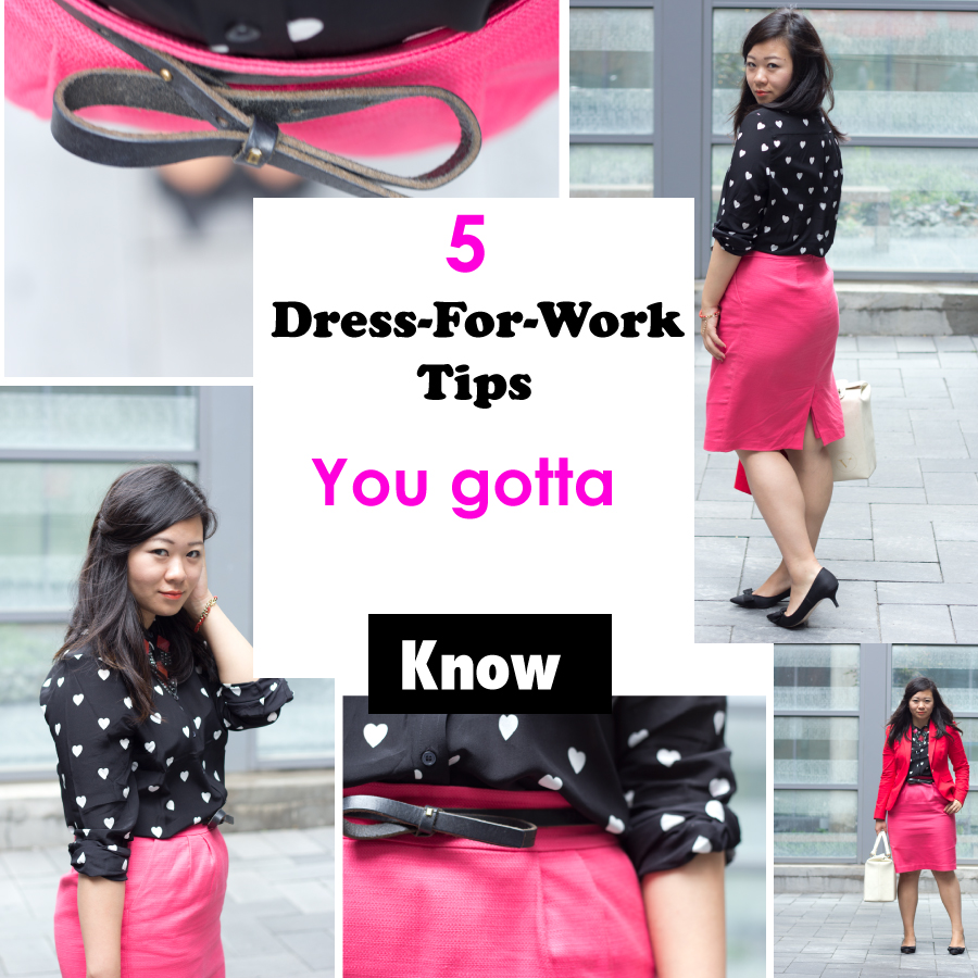 dress-for-work-tips, business-casual, pencil-skirt, heart-print-blouse, fashion-blogger