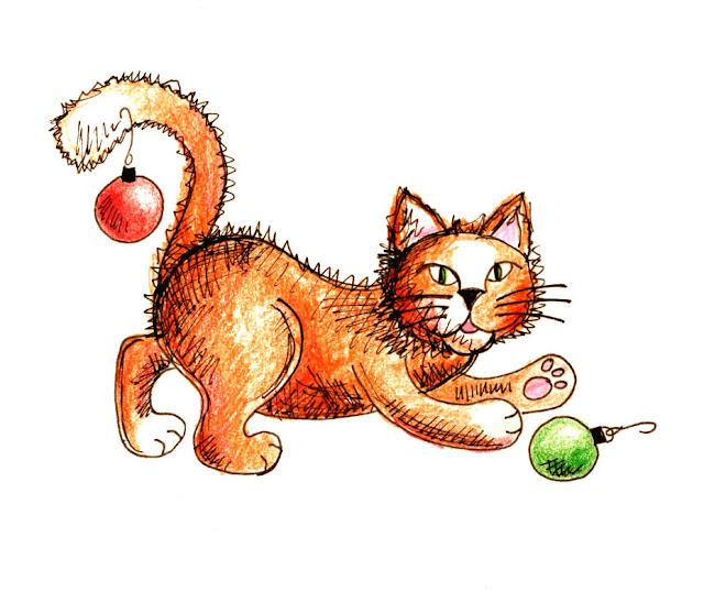 Kitty Playing with Christmas Ornaments Illustration by Beth Hemmila
