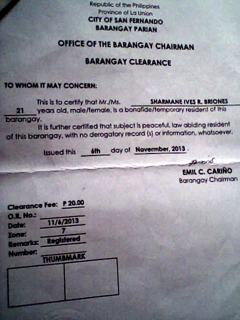 barangay clearance Business or activity is located or conductedfor such clearance, the sangguniang barangay may impose a reasonable fee the application for clearance shall be acted upon within.